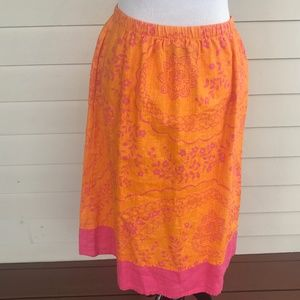 FLAX Jeanne Engelhart Shapely Orange Pink Skirt